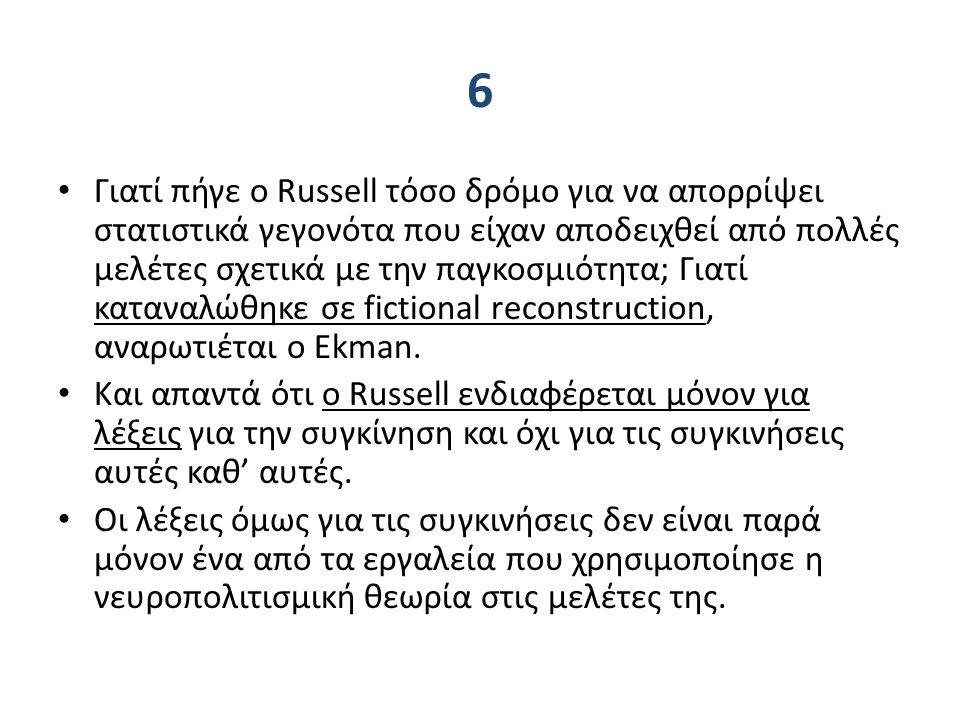 6 Γιατί πήγε ο Russell τόσο δρόμο για να απορρίψει στατιστικά γεγονότα που είχαν αποδειχθεί από πολλές μελέτες σχετικά με την παγκοσμιότητα; Γιατί καταναλώθηκε σε fictional reconstruction, αναρωτιέται ο Ekman.