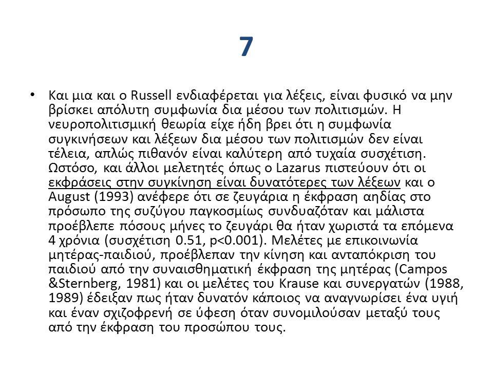 7 Και μια και ο Russell ενδιαφέρεται για λέξεις, είναι φυσικό να μην βρίσκει απόλυτη συμφωνία δια μέσου των πολιτισμών.