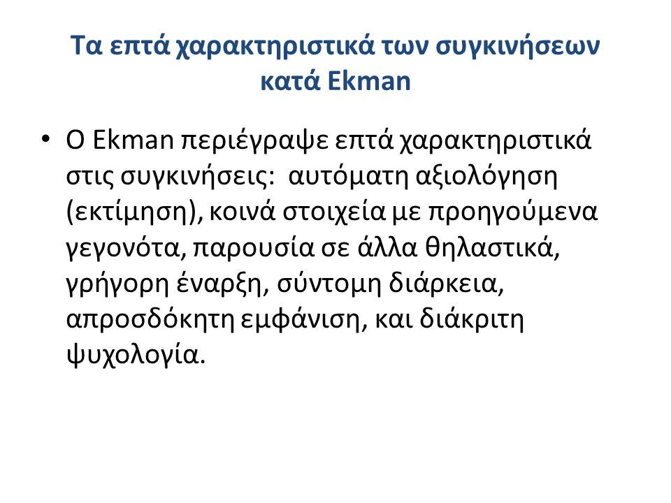 Τα επτά χαρακτηριστικά των συγκινήσεων κατά Ekman Ο Ekman περιέγραψε επτά χαρακτηριστικά στις συγκινήσεις: αυτόματη αξιολόγηση (εκτίμηση), κοινά στοιχεία με προηγούμενα γεγονότα, παρουσία σε άλλα θηλαστικά, γρήγορη έναρξη, σύντομη διάρκεια, απροσδόκητη εμφάνιση, και διάκριτη ψυχολογία.