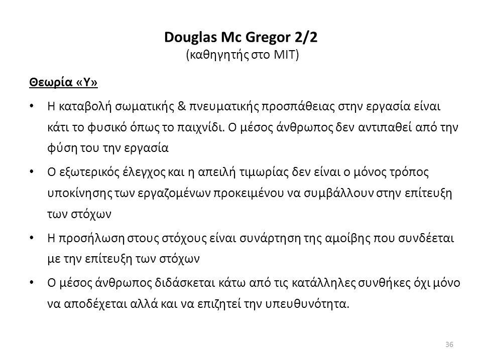Douglas Μc Gregor 2/2 (καθηγητής στο ΜΙΤ) Θεωρία «Υ» Η καταβολή σωματικής & πνευματικής προσπάθειας στην εργασία είναι κάτι το φυσικό όπως το παιχνίδι.