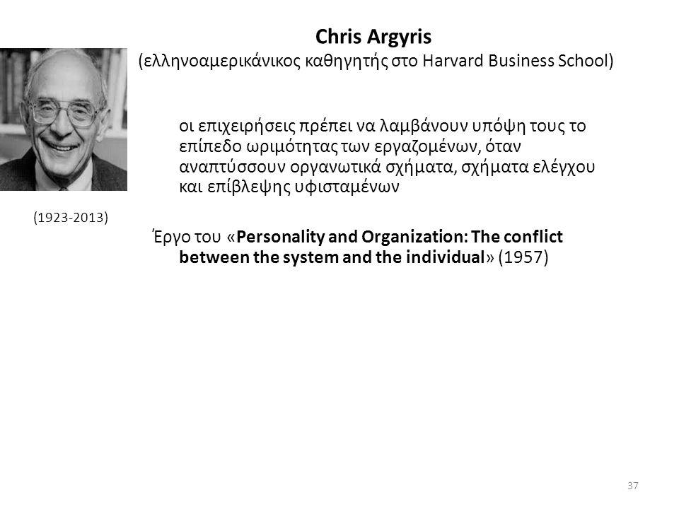 Chris Argyris (ελληνοαμερικάνικος καθηγητής στο Harvard Business School) οι επιχειρήσεις πρέπει να λαμβάνουν υπόψη τους το επίπεδο ωριμότητας των εργαζομένων, όταν αναπτύσσουν οργανωτικά σχήματα, σχήματα ελέγχου και επίβλεψης υφισταμένων Έργο του «Personality and Organization: The conflict between the system and the individual» (1957) (1923-2013) 37