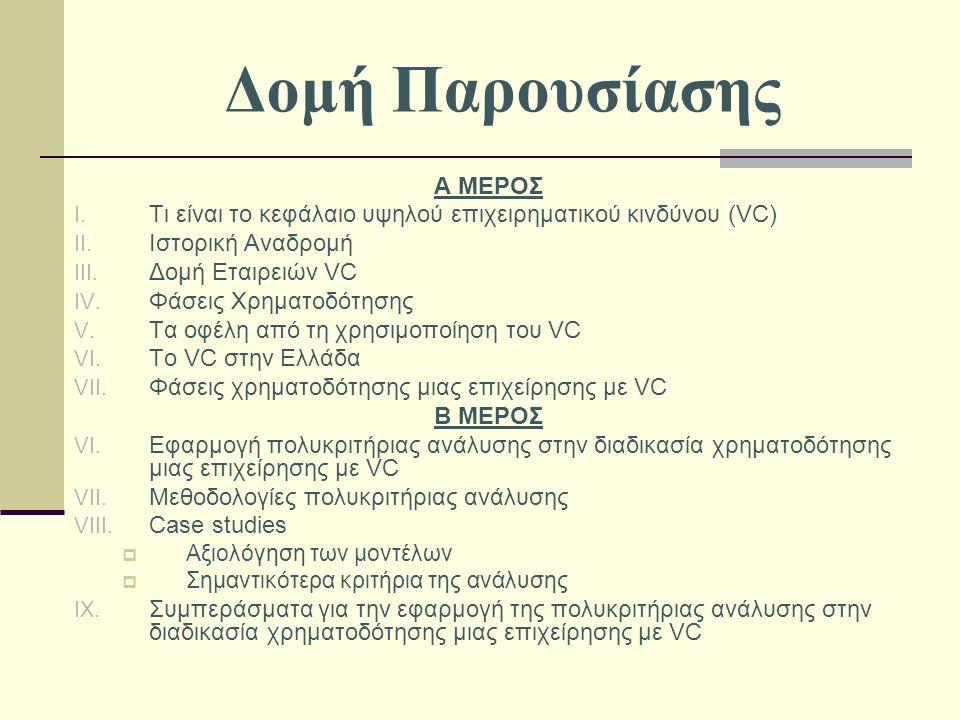 Δομή Παρουσίασης Α ΜΕΡΟΣ I. Τι είναι το κεφάλαιο υψηλού επιχειρηματικού κινδύνου (VC) II.