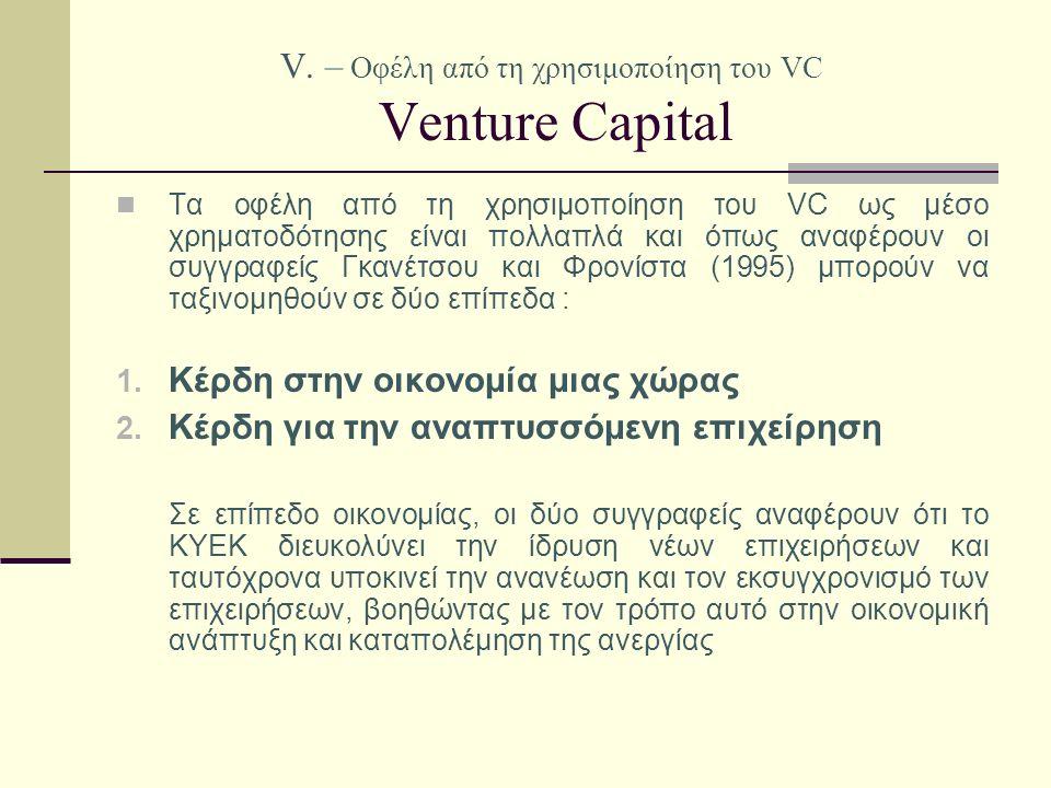V. – Οφέλη από τη χρησιμοποίηση του VC Venture Capital Τα οφέλη από τη χρησιμοποίηση του VC ως μέσο χρηματοδότησης είναι πολλαπλά και όπως αναφέρουν ο