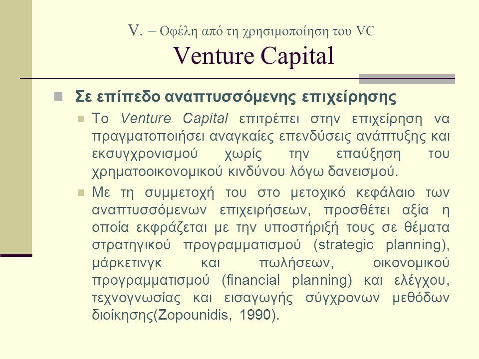V. – Οφέλη από τη χρησιμοποίηση του VC Venture Capital Σε επίπεδο αναπτυσσόμενης επιχείρησης Το Venture Capital επιτρέπει στην επιχείρηση να πραγματοπ