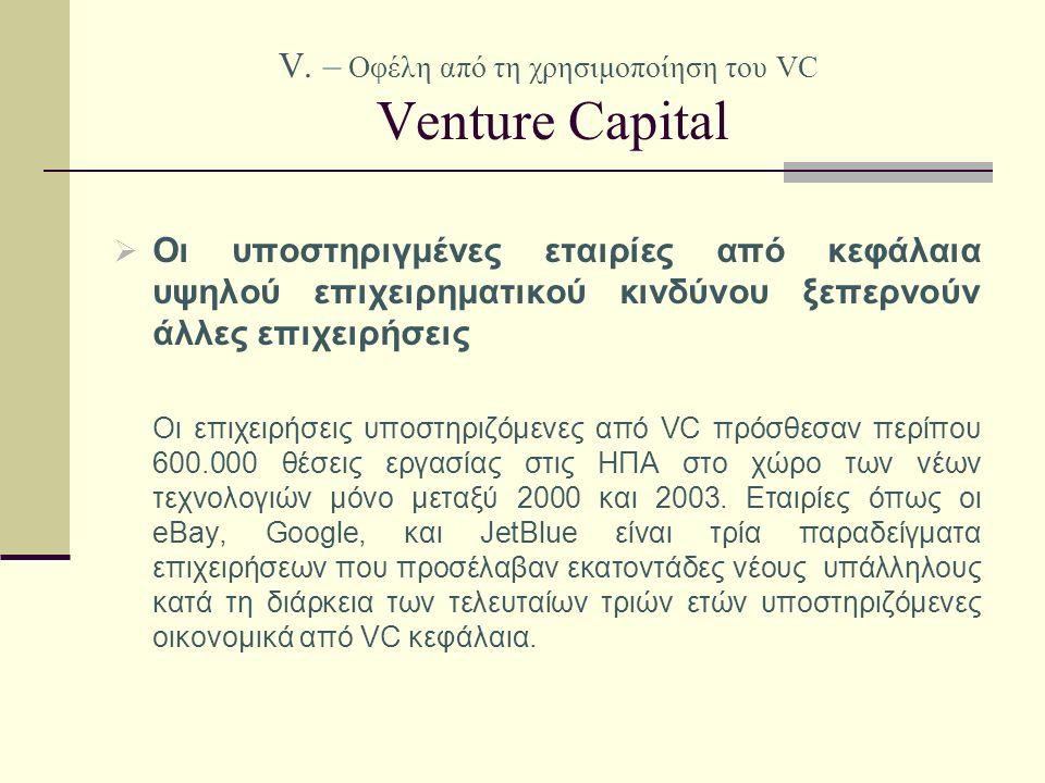V. – Οφέλη από τη χρησιμοποίηση του VC Venture Capital  Οι υποστηριγμένες εταιρίες από κεφάλαια υψηλού επιχειρηματικού κινδύνου ξεπερνούν άλλες επιχε