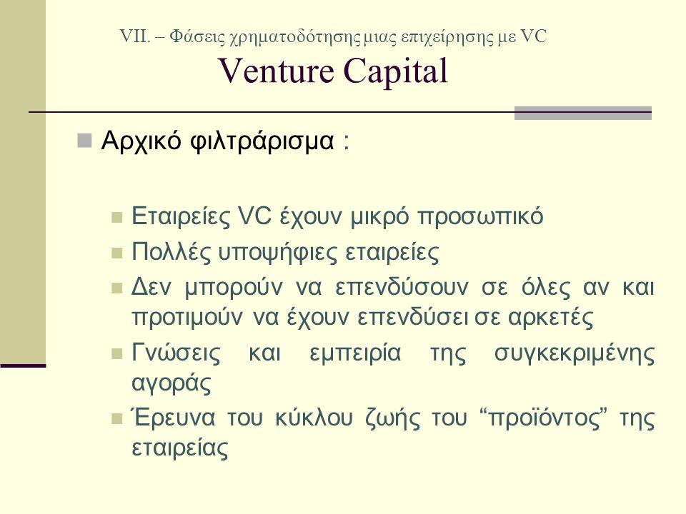 VII. – Φάσεις χρηματοδότησης μιας επιχείρησης με VC Venture Capital Αρχικό φιλτράρισμα : Εταιρείες VC έχουν μικρό προσωπικό Πολλές υποψήφιες εταιρείες