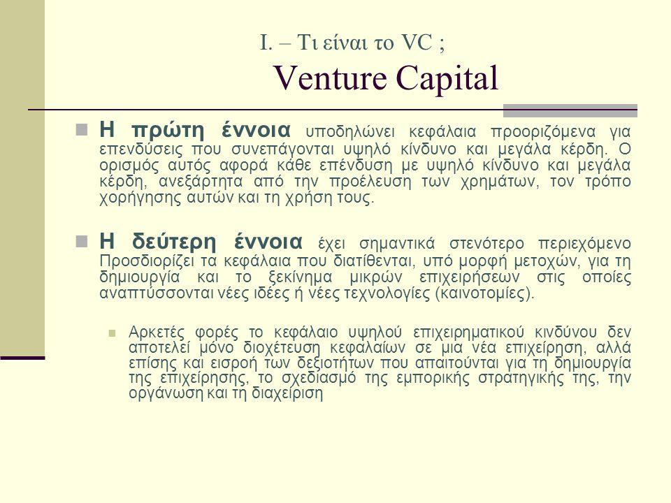 Ι. – Τι είναι το VC ; Venture Capital Η πρώτη έννοια υποδηλώνει κεφάλαια προοριζόμενα για επενδύσεις που συνεπάγονται υψηλό κίνδυνο και μεγάλα κέρδη.
