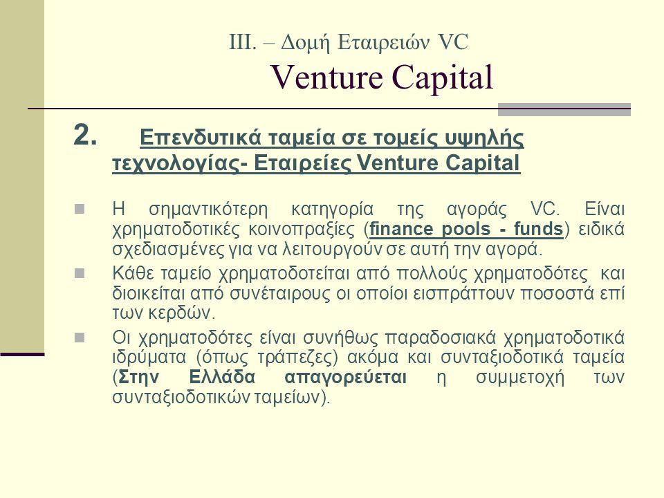 IΙI. – Δομή Εταιρειών VC Venture Capital 2.