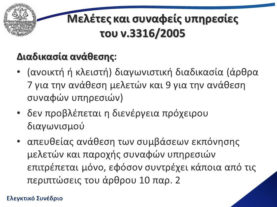Ελεγκτικό Συνέδριο Μελέτες και συναφείς υπηρεσίες του ν.3316/2005 Διαδικασία ανάθεσης Διαδικασία ανάθεσης: (ανοικτή ή κλειστή) διαγωνιστική διαδικασία (άρθρα 7 για την ανάθεση μελετών και 9 για την ανάθεση συναφών υπηρεσιών) δεν προβλέπεται η διενέργεια πρόχειρου διαγωνισμού απευθείας ανάθεση των συμβάσεων εκπόνησης μελετών και παροχής συναφών υπηρεσιών επιτρέπεται μόνο, εφόσον συντρέχει κάποια από τις περιπτώσεις του άρθρου 10 παρ.