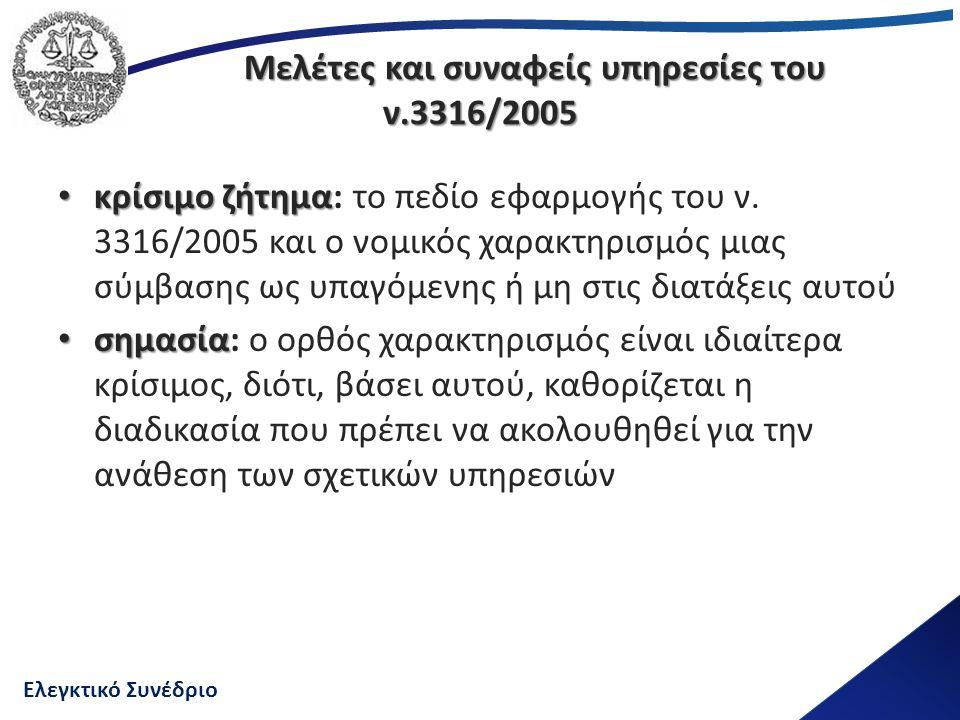Ελεγκτικό Συνέδριο Μελέτες και συναφείς υπηρεσίες του ν.3316/2005 Μελέτες και συναφείς υπηρεσίες του ν.3316/2005 κρίσιμο ζήτημα κρίσιμο ζήτημα: το πεδίο εφαρμογής του ν.