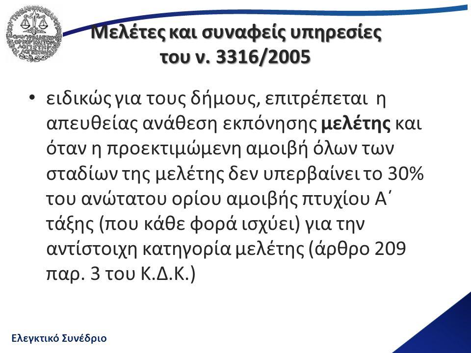Ελεγκτικό Συνέδριο Μελέτες και συναφείς υπηρεσίες του ν. 3316/2005 ειδικώς για τους δήμους, επιτρέπεται η απευθείας ανάθεση εκπόνησης μελέτης και όταν