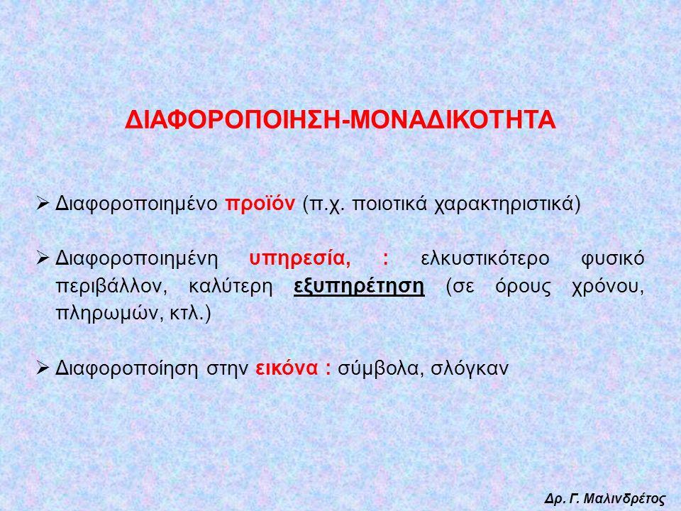 ΔΙΑΦΟΡΟΠΟΙΗΣΗ-ΜΟΝΑΔΙΚΟΤΗΤΑ  Διαφοροποιημένο προϊόν (π.χ.