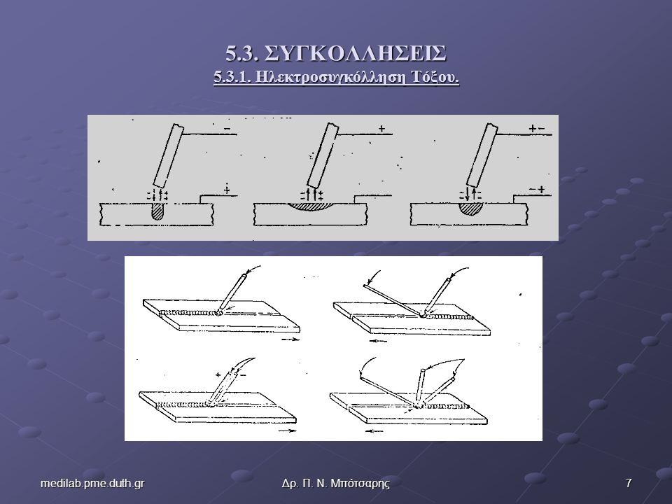 8medilab.pme.duth.grΔρ. Π. Ν. Μπότσαρης 5.3.1. Ηλεκτροσυγκόλληση Τόξου.
