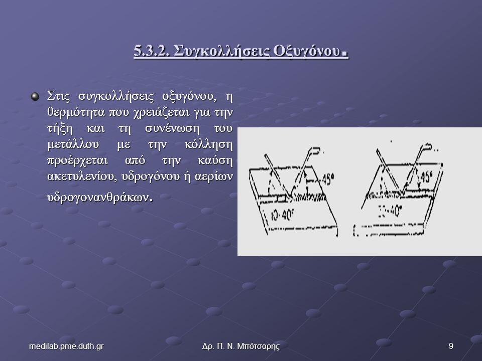 9medilab.pme.duth.grΔρ. Π. Ν. Μπότσαρης 5.3.2. Συγκολλήσεις Οξυγόνου.
