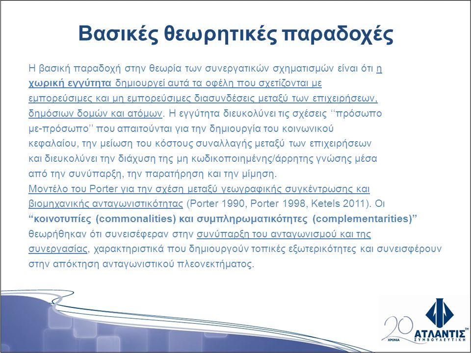 Συνεργατικοί σχηματισμοί και ευρωπαϊκές πολιτικές οικονομικής ανάπτυξης (1) Από το 2008 η Ευρωπαϊκή Επιτροπή ζήτησε την ανάπτυξη συνεργατικών σχηματισμών παγκοσμίου εμβέλειας επιδιώκοντας την διατήρηση και επέκταση της ευρωπαϊκής ανταγωνιστικότητας μέσα από βελτιωμένες πολιτικές για τους συνεργατικούς σχηματισμούς, την αυξημένη διασύνδεση φορέων μεταξύ περιφερειών, κρατών.