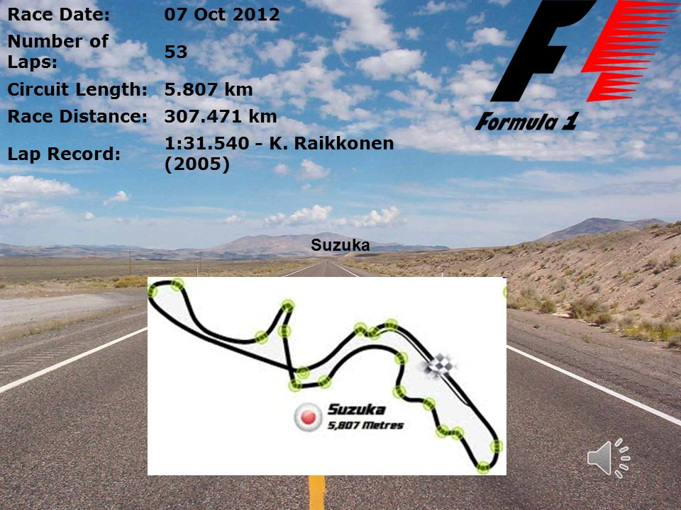 Race Date:07 Oct 2012 Number of Laps: 53 Circuit Length:5.807 km Race Distance:307.471 km Lap Record: 1:31.540 - K.