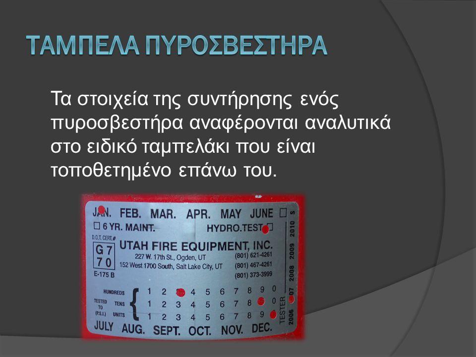 Τα στοιχεία της συντήρησης ενός πυροσβεστήρα αναφέρονται αναλυτικά στο ειδικό ταμπελάκι που είναι τοποθετημένο επάνω του.