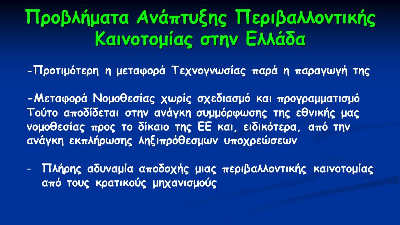 Προβλήματα Ανάπτυξης Περιβαλλοντικής Καινοτομίας στην Ελλάδα - Προτιμότερη η μεταφορά Τεχνογνωσίας παρά η παραγωγή της -Μεταφορά Νομοθεσίας χωρίς σχεδ