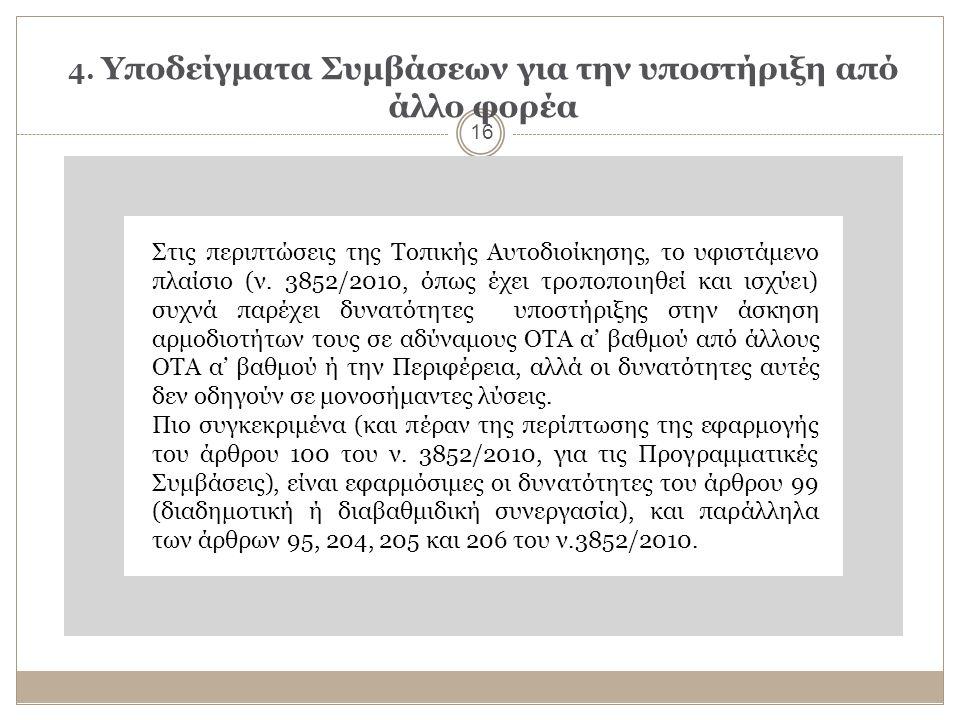 4. Υποδείγματα Συμβάσεων για την υποστήριξη από άλλο φορέα 16 Στις περιπτώσεις της Τοπικής Αυτοδιοίκησης, το υφιστάμενο πλαίσιο (ν. 3852/2010, όπως έχ