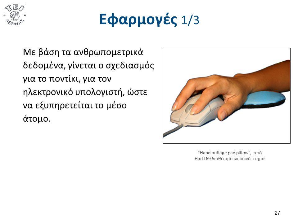 Εφαρμογές 1/3 Με βάση τα ανθρωπομετρικά δεδομένα, γίνεται ο σχεδιασμός για το ποντίκι, για τον ηλεκτρονικό υπολογιστή, ώστε να εξυπηρετείται το μέσο ά