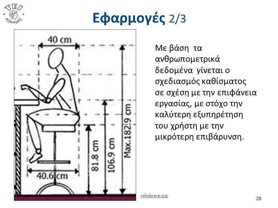 Εφαρμογές 2/3 28 Με βάση τα ανθρωπομετρικά δεδομένα γίνεται ο σχεδιασμός καθίσματος σε σχέση με την επιφάνεια εργασίας, με στόχο την καλύτερη εξυπηρέτ
