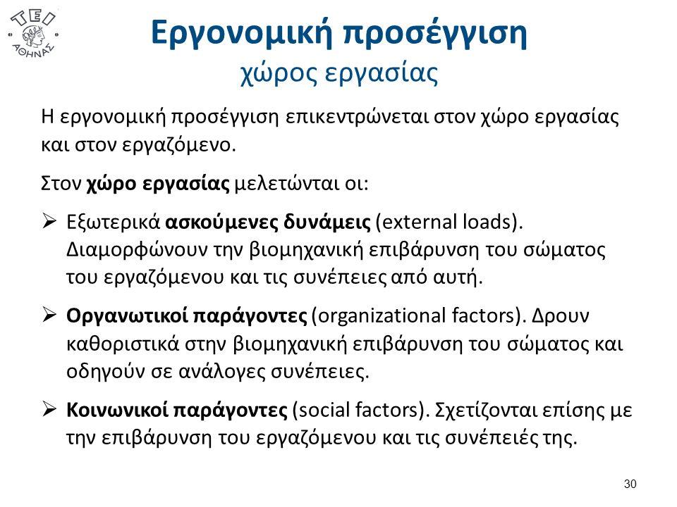 Εργονομική προσέγγιση χώρος εργασίας Η εργονομική προσέγγιση επικεντρώνεται στον χώρο εργασίας και στον εργαζόμενο. Στον χώρο εργασίας μελετώνται οι: