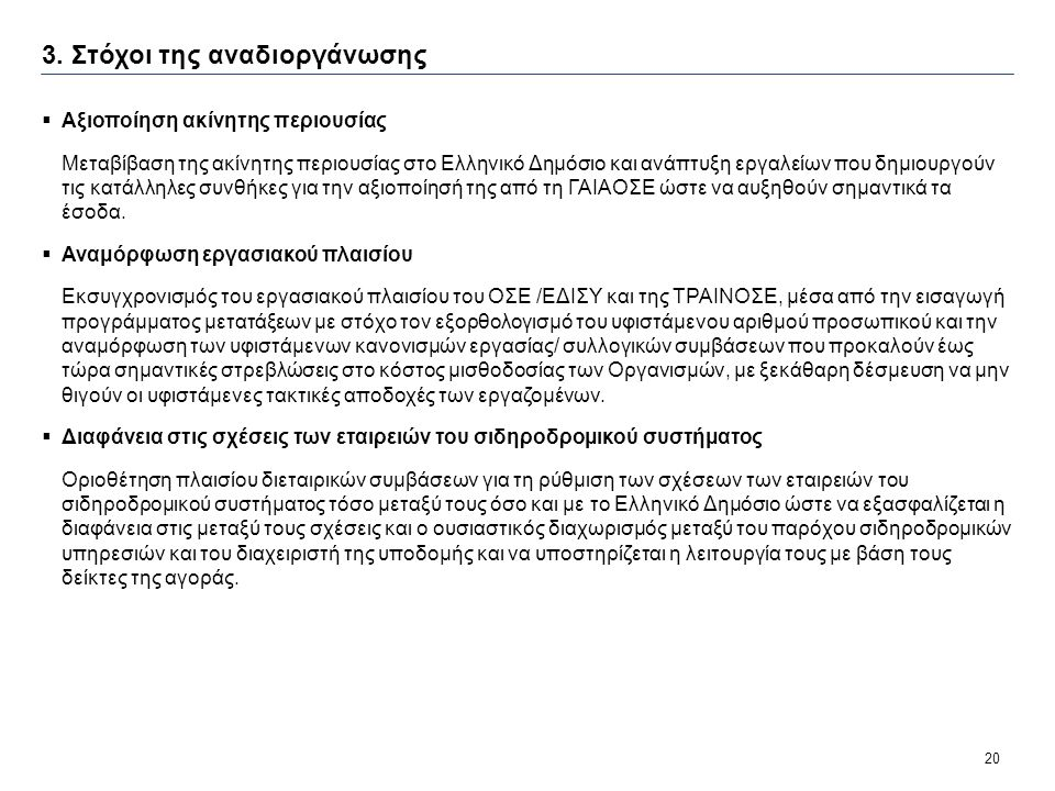 20 3. Στόχοι της αναδιοργάνωσης  Αξιοποίηση ακίνητης περιουσίας Μεταβίβαση της ακίνητης περιουσίας στο Ελληνικό Δημόσιο και ανάπτυξη εργαλείων που δη