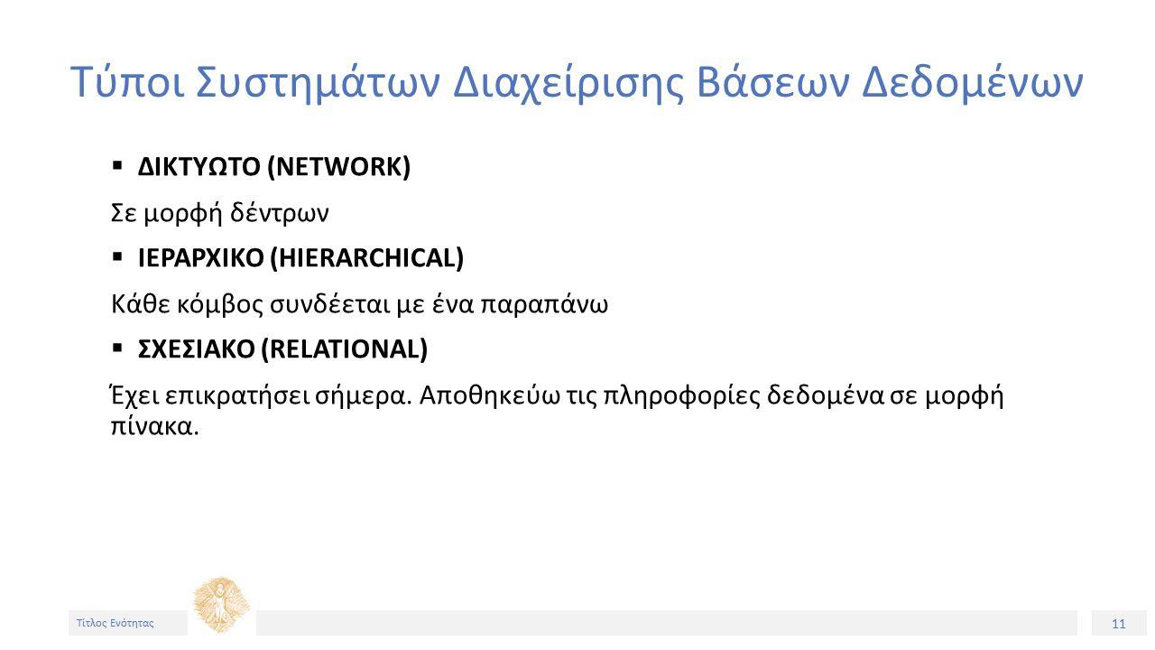 11 Τίτλος Ενότητας Τύποι Συστημάτων Διαχείρισης Βάσεων Δεδομένων  ΔΙΚΤΥΩΤΟ (NETWORK) Σε μορφή δέντρων  ΙΕΡΑΡΧΙΚΟ (HIERARCHICAL) Κάθε κόμβος συνδέεται με ένα παραπάνω  ΣΧΕΣΙΑΚΟ (RELATIONAL) Έχει επικρατήσει σήμερα.