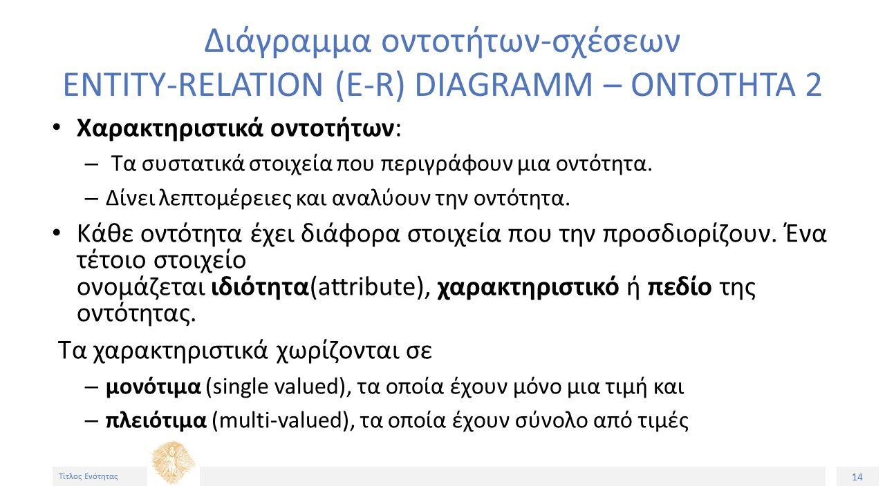14 Τίτλος Ενότητας Διάγραμμα οντοτήτων-σχέσεων ENTITY-RELATION (E-R) DIAGRAMM – ΟΝΤΟΤΗΤΑ 2 Χαρακτηριστικά οντοτήτων: – Τα συστατικά στοιχεία που περιγράφουν μια οντότητα.