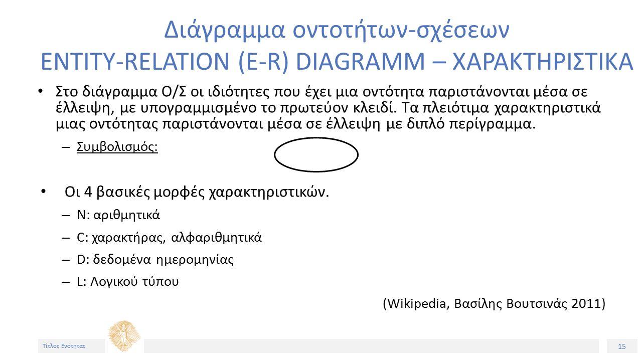 15 Τίτλος Ενότητας Διάγραμμα οντοτήτων-σχέσεων ENTITY-RELATION (E-R) DIAGRAMM – XAΡΑΚΤΗΡΙΣΤΙΚΑ Στο διάγραμμα Ο/Σ οι ιδιότητες που έχει μια οντότητα παριστάνονται μέσα σε έλλειψη, με υπογραμμισμένο το πρωτεύον κλειδί.