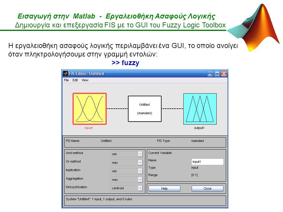 Εισαγωγή στην Matlab - Εργαλειοθήκη Ασαφούς Λογικής Η εργαλειοθήκη ασαφούς λογικής περιλαμβάνει ένα GUI, το οποίο ανοίγει όταν πληκτρολογήσουμε στην γραμμή εντολών: >> fuzzy Δημιουργία και επεξεργασία FIS με το GUI του Fuzzy Logic Toolbox