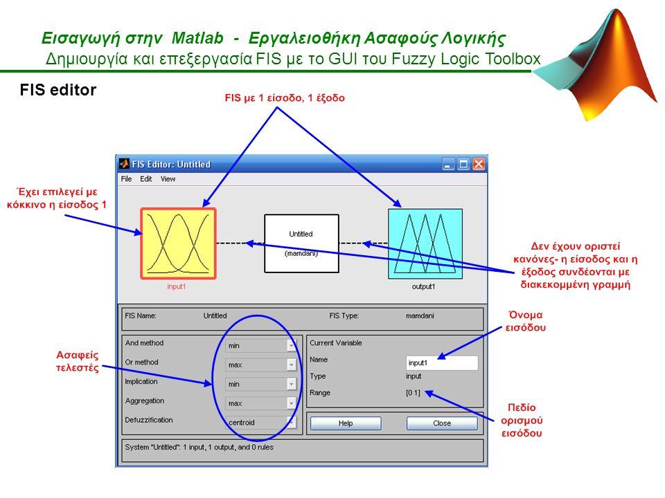 Εισαγωγή στην Matlab - Εργαλειοθήκη Ασαφούς Λογικής Δημιουργία και επεξεργασία FIS με το GUI του Fuzzy Logic Toolbox FIS editor
