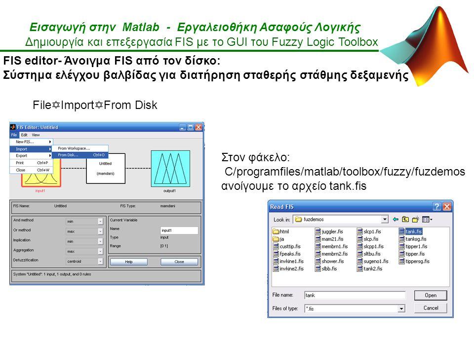 Εισαγωγή στην Matlab - Εργαλειοθήκη Ασαφούς Λογικής Δημιουργία και επεξεργασία FIS με το GUI του Fuzzy Logic Toolbox FIS editor- Άνοιγμα FIS από τον δίσκο: Σύστημα ελέγχου βαλβίδας για διατήρηση σταθερής στάθμης δεξαμενής Στον φάκελο: C/programfiles/matlab/toolbox/fuzzy/fuzdemos ανοίγουμε το αρχείο tank.fis File  Import  From Disk