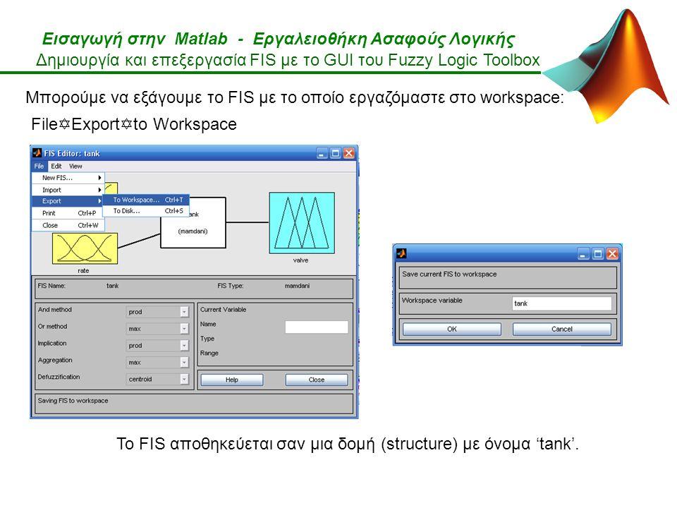 Εισαγωγή στην Matlab - Εργαλειοθήκη Ασαφούς Λογικής Δημιουργία και επεξεργασία FIS με το GUI του Fuzzy Logic Toolbox File  Export  to Workspace Μπορούμε να εξάγουμε το FIS με το οποίο εργαζόμαστε στο workspace: To FIS αποθηκεύεται σαν μια δομή (structure) με όνομα 'tank'.