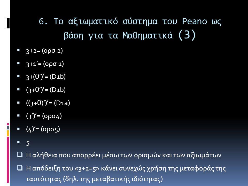 6. Το αξιωματικό σύστημα του Peano ως βάση για τα Μαθηματικά (3)  3+2= (ορσ 2)  3+1'= (ορσ 1)  3+( 0 ')'= (D1b)  (3+ 0 ')'= (D1b)  ((3+ 0 )')'= (