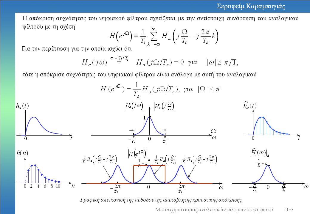 Η τάξη του φίλτρου είναι Η συνάρτηση μεταφοράς του πρωτότυπου φίλτρου Butterworth τρίτης τάξης είναι Μετασχηματίζουμε το πρωτότυπο φίλτρο σε φίλτρο που έχει συχνότητα στο όριο της ζώνης διέλευσης ίση με Εφαρμόζουμε το διγραμμικό μετασχηματισμό και έχουμε τη συνάρτηση μεταφοράς του ζητούμενου IIR ψηφιακού φίλτρου.