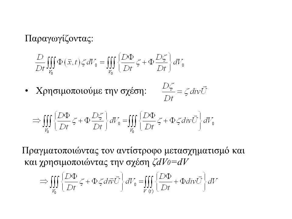 Παραγωγίζοντας: Χρησιμοποιούμε την σχέση: Πραγματοποιώντας τον αντίστροφο μετασχηματισμό και και χρησιμοποιώντας την σχέση ζdV 0 =dV