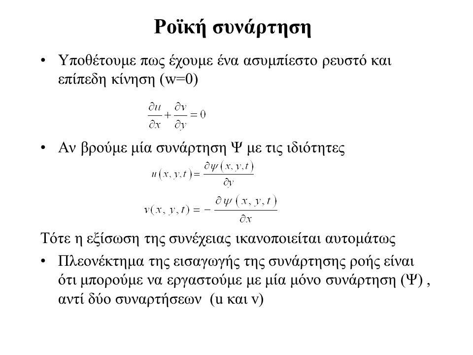 Ροϊκή συνάρτηση Υποθέτουμε πως έχουμε ένα ασυμπίεστο ρευστό και επίπεδη κίνηση (w=0) Αν βρούμε μία συνάρτηση Ψ με τις ιδιότητες Τότε η εξίσωση της συν