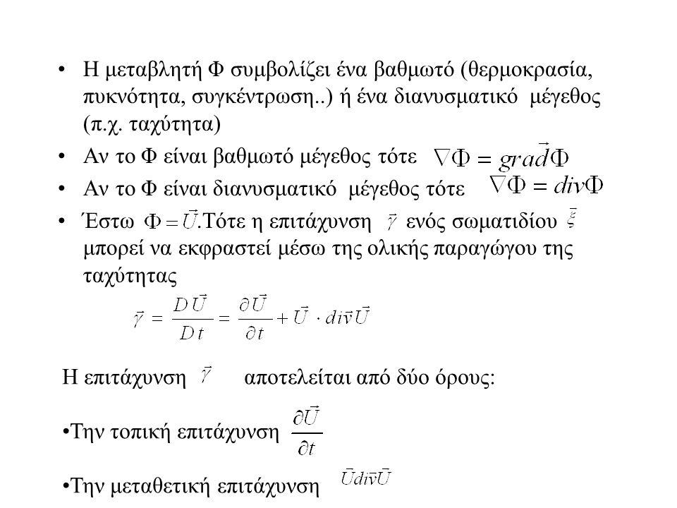 H μεταβλητή Φ συμβολίζει ένα βαθμωτό (θερμοκρασία, πυκνότητα, συγκέντρωση..) ή ένα διανυσματικό μέγεθος (π.χ. ταχύτητα) Αν το Φ είναι βαθμωτό μέγεθος