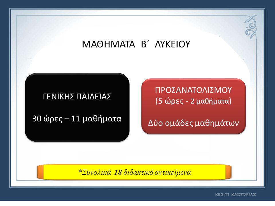 ΜΑΘΗΜΑΤΑ Β΄ ΛΥΚΕΙΟΥ ΓΕΝΙΚΗΣ ΠΑΙΔΕΙΑΣ 30 ώρες – 11 μαθήματα ΓΕΝΙΚΗΣ ΠΑΙΔΕΙΑΣ 30 ώρες – 11 μαθήματα ΠΡΟΣΑΝΑΤΟΛΙΣΜΟΥ (5 ώρες - 2 μαθήματα ) Δύο ομάδες μαθημάτων ΠΡΟΣΑΝΑΤΟΛΙΣΜΟΥ (5 ώρες - 2 μαθήματα ) Δύο ομάδες μαθημάτων *Συνολικά 18 διδακτικά αντικείμενα
