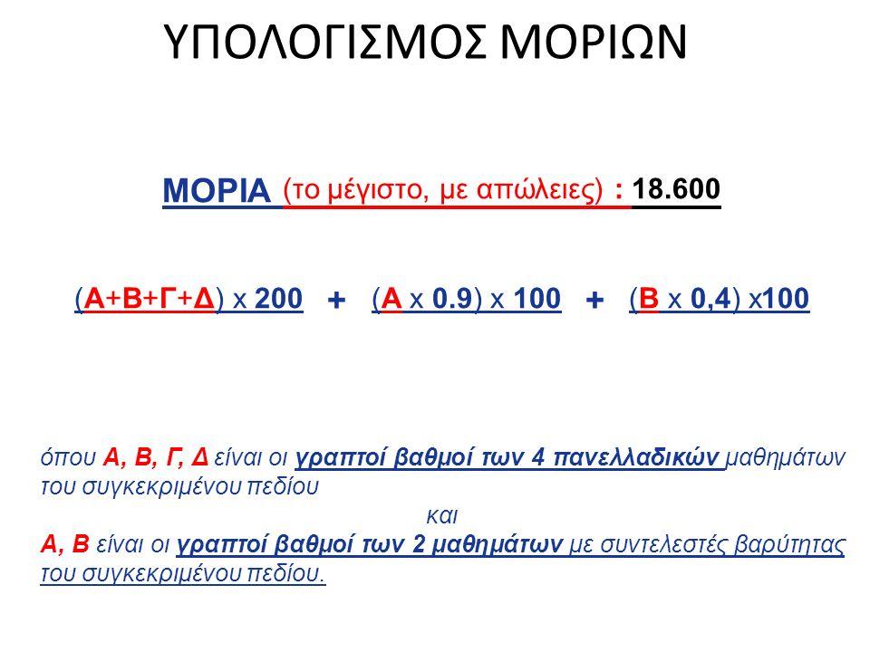 ΥΠΟΛΟΓΙΣΜΟΣ ΜΟΡΙΩΝ ΜΟΡΙΑ (το μέγιστο, με απώλειες) : 18.600 (Α+Β+Γ+Δ) x 200 + (Α x 0.9) x 100 + (Β x 0,4) x100 όπου Α, Β, Γ, Δ είναι οι γραπτοί βαθμοί των 4 πανελλαδικών μαθημάτων του συγκεκριμένου πεδίου και Α, Β είναι οι γραπτοί βαθμοί των 2 μαθημάτων με συντελεστές βαρύτητας του συγκεκριμένου πεδίου.