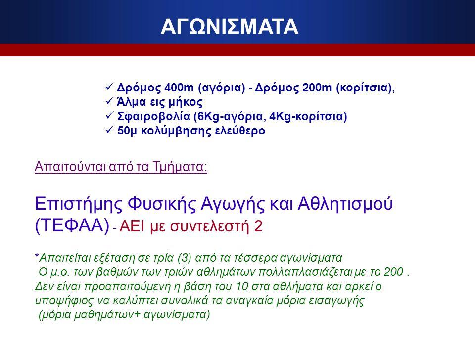 ΑΓΩΝΙΣΜΑΤΑ Δρόμος 400m (αγόρια) - Δρόμος 200m (κορίτσια), Άλμα εις μήκος Σφαιροβολία (6Kg-αγόρια, 4Kg-κορίτσια) 50μ κολύμβησης ελεύθερο Απαιτούνται από τα Τμήματα: Επιστήμης Φυσικής Αγωγής και Αθλητισμού (ΤΕΦΑΑ) - ΑΕΙ με συντελεστή 2 *Απαιτείται εξέταση σε τρία (3) από τα τέσσερα αγωνίσματα Ο μ.ο.