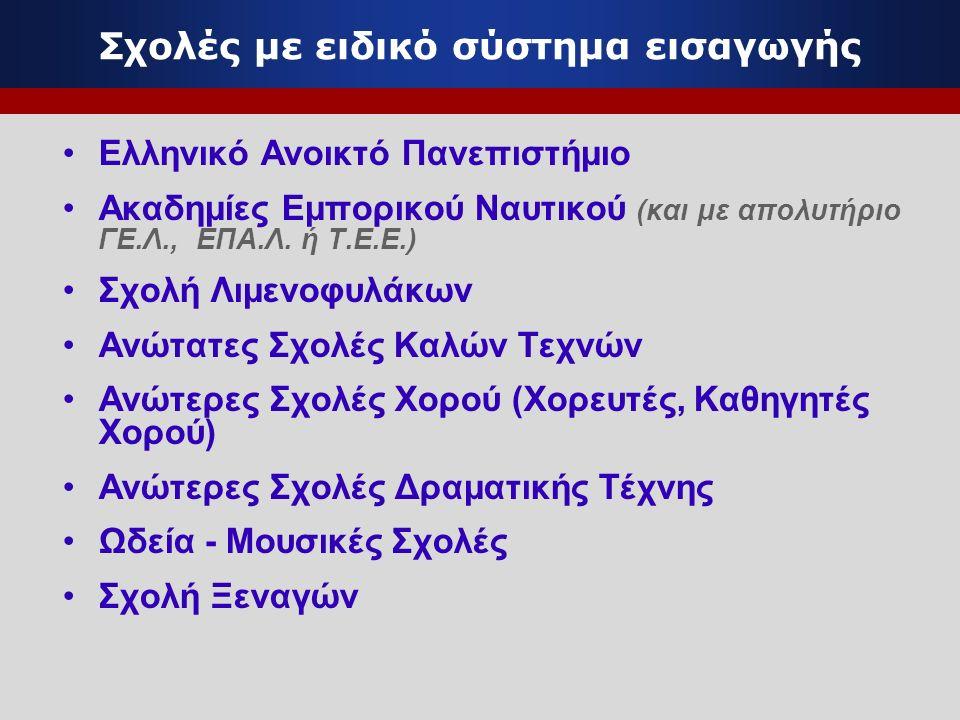 Σχολές με ειδικό σύστημα εισαγωγής Ελληνικό Ανοικτό Πανεπιστήμιο Ακαδημίες Εμπορικού Ναυτικού (και με απολυτήριο ΓΕ.Λ., ΕΠΑ.Λ. ή Τ.Ε.Ε.) Σχολή Λιμενοφ