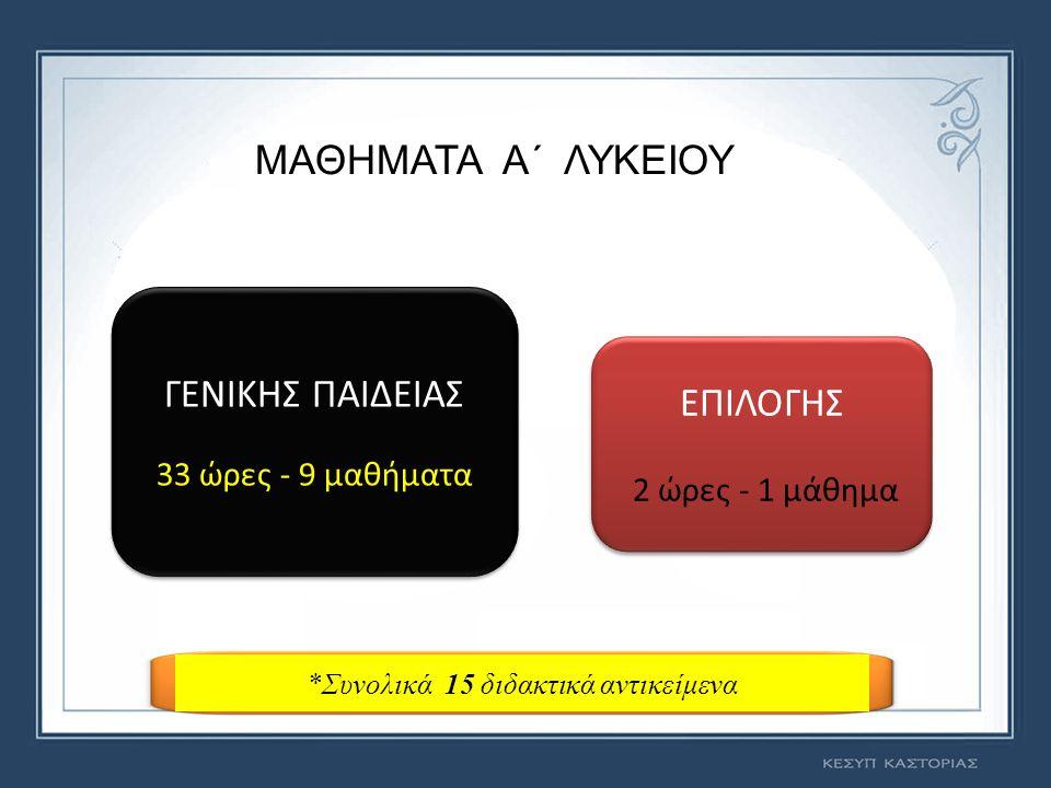 ΜΑΘΗΜΑΤΑΩΡΕΣ ΑΡΧΑΙΑ ΕΛΛΗΝΙΚΗ ΓΛΩΣΣΑ & ΓΡΑΜΜΑΤΕΙΑ 5 ΝΕΑ ΕΛΛΗΝΙΚΗ ΓΛΩΣΣΑ 2 ΝΕΑ ΕΛΛΗΝΙΚΗ ΛΟΓΟΤΕΧΝΙΑ 2 ΘΡΗΣΚΕΥΤΙΚΑ 2 ΙΣΤΟΡΙΑ 2 ΑΛΓΕΒΡΑ 3 ΓΕΩΜΕΤΡΙΑ 2 ΞΕΝΗ ΓΛΩΣΣΑ (ΑΓΓΛΙΚΑ, ΓΑΛΛΙΚΑ ή ΓΕΡΜΑΝΙΚΑ) 2 ΦΥΣΙΚΗ 2 ΧΗΜΕΙΑ 2 ΒΙΟΛΟΓΙΑ 2 ΦΥΣΙΚΗ ΑΓΩΓΗ 2 ΕΡΕΥΝΗΤΙΚΗ ΕΡΓΑΣΙΑ (PROJECT) 2 ΠΟΛΙΤΙΚΗ ΠΑΙΔΕΙΑ (Οικονομία, Πολιτικοί Θεσμοί & Αρχές Δικαίου, Κοινωνιολογία) 3 ΜΑΘΗΜΑΤΑ ΓΕΝΙΚΗΣ ΠΑΙΔΕΙΑΣ A΄ ΓΕ.Λ.