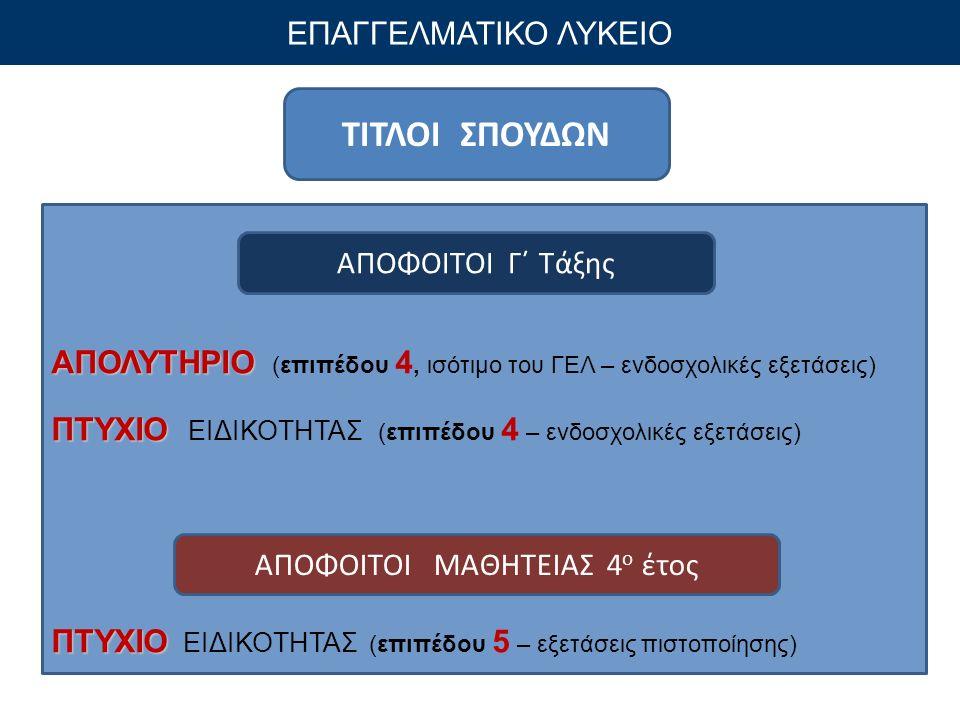 ΤΙΤΛΟΙ ΣΠΟΥΔΩΝ ΕΠΑΓΓΕΛΜΑΤΙΚΟ ΛΥΚΕΙΟ ΑΠΟΛΥΤΗΡΙΟ ΑΠΟΛΥΤΗΡΙΟ (επιπέδου 4, ισότιμο του ΓΕΛ – ενδοσχολικές εξετάσεις) ΠΤΥΧΙΟ ΠΤΥΧΙΟ ΕΙΔΙΚΟΤΗΤΑΣ (επιπέδου 4 – ενδοσχολικές εξετάσεις) ΠΤΥΧΙΟ ΠΤΥΧΙΟ ΕΙΔΙΚΟΤΗΤΑΣ (επιπέδου 5 – εξετάσεις πιστοποίησης) ΑΠΟΦΟΙΤΟΙ Γ΄ Τάξης ΑΠΟΦΟΙΤΟΙ ΜΑΘΗΤΕΙΑΣ 4 ο έτος