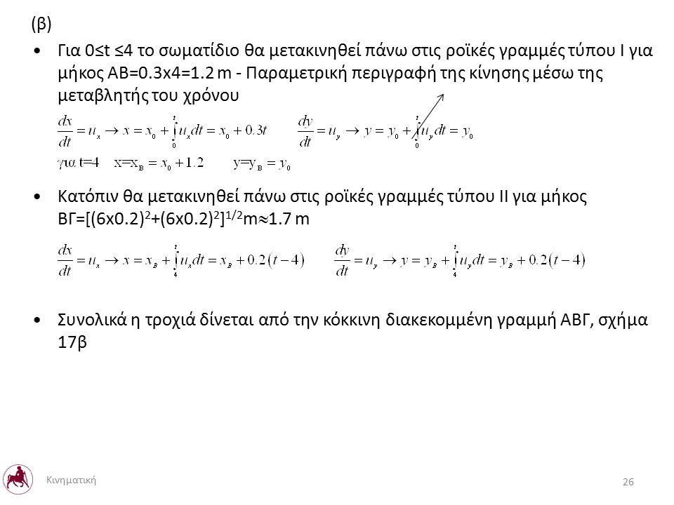 Για 0≤t ≤4 το σωματίδιο θα μετακινηθεί πάνω στις ροϊκές γραμμές τύπου Ι για μήκος AB=0.3x4=1.2 m - Παραμετρική περιγραφή της κίνησης μέσω της μεταβλητής του χρόνου Κατόπιν θα μετακινηθεί πάνω στις ροϊκές γραμμές τύπου ΙΙ για μήκος ΒΓ=[(6x0.2) 2 +(6x0.2) 2 ] 1/2 m  1.7 m Συνολικά η τροχιά δίνεται από την κόκκινη διακεκομμένη γραμμή ΑΒΓ, σχήμα 17β (β) 26 Κινηματική