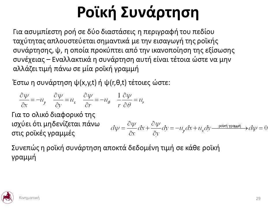 Ροϊκή Συνάρτηση Για ασυμπίεστη ροή σε δύο διαστάσεις η περιγραφή του πεδίου ταχύτητας απλουστεύεται σημαντικά με την εισαγωγή της ροϊκής συνάρτησης, ψ, η οποία προκύπτει από την ικανοποίηση της εξίσωσης συνέχειας – Εναλλακτικά η συνάρτηση αυτή είναι τέτοια ώστε να μην αλλάζει τιμή πάνω σε μία ροϊκή γραμμή Έστω η συνάρτηση ψ(x,y,t) ή ψ(r,θ,t) τέτοιες ώστε: Για το ολικό διαφορικό της ισχύει ότι μηδενίζεται πάνω στις ροϊκές γραμμές Συνεπώς η ροϊκή συνάρτηση αποκτά δεδομένη τιμή σε κάθε ροϊκή γραμμή 29 Κινηματική
