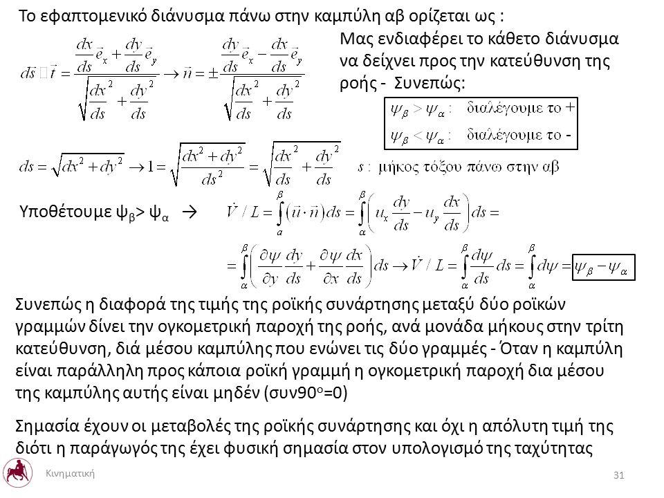 Το εφαπτομενικό διάνυσμα πάνω στην καμπύλη αβ ορίζεται ως : Μας ενδιαφέρει το κάθετο διάνυσμα να δείχνει προς την κατεύθυνση της ροής - Συνεπώς: Υποθέτουμε ψ β > ψ α → Συνεπώς η διαφορά της τιμής της ροϊκής συνάρτησης μεταξύ δύο ροϊκών γραμμών δίνει την ογκομετρική παροχή της ροής, ανά μονάδα μήκους στην τρίτη κατεύθυνση, διά μέσου καμπύλης που ενώνει τις δύο γραμμές - Όταν η καμπύλη είναι παράλληλη προς κάποια ροϊκή γραμμή η ογκομετρική παροχή δια μέσου της καμπύλης αυτής είναι μηδέν (συν90 ο =0) Σημασία έχουν οι μεταβολές της ροϊκής συνάρτησης και όχι η απόλυτη τιμή της διότι η παράγωγός της έχει φυσική σημασία στον υπολογισμό της ταχύτητας 31 Κινηματική