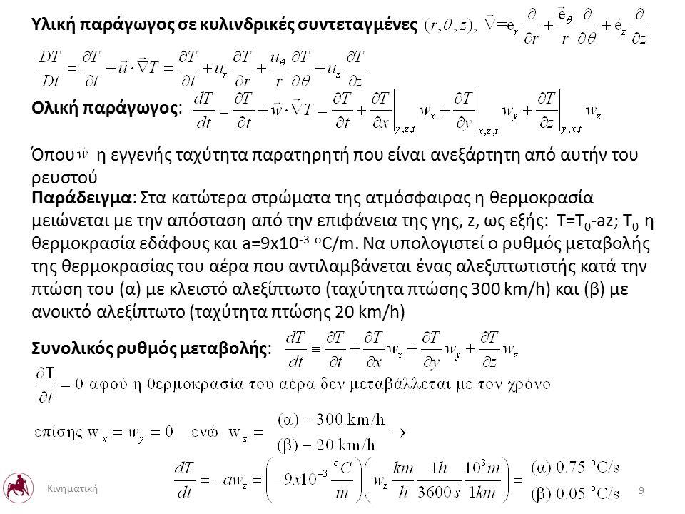 Υλική παράγωγος σε κυλινδρικές συντεταγμένες Ολική παράγωγος: Όπου η εγγενής ταχύτητα παρατηρητή που είναι ανεξάρτητη από αυτήν του ρευστού Παράδειγμα: Στα κατώτερα στρώματα της ατμόσφαιρας η θερμοκρασία μειώνεται με την απόσταση από την επιφάνεια της γης, z, ως εξής: T=T 0 -az; Τ 0 η θερμοκρασία εδάφους και a=9x10 -3 o C/m.