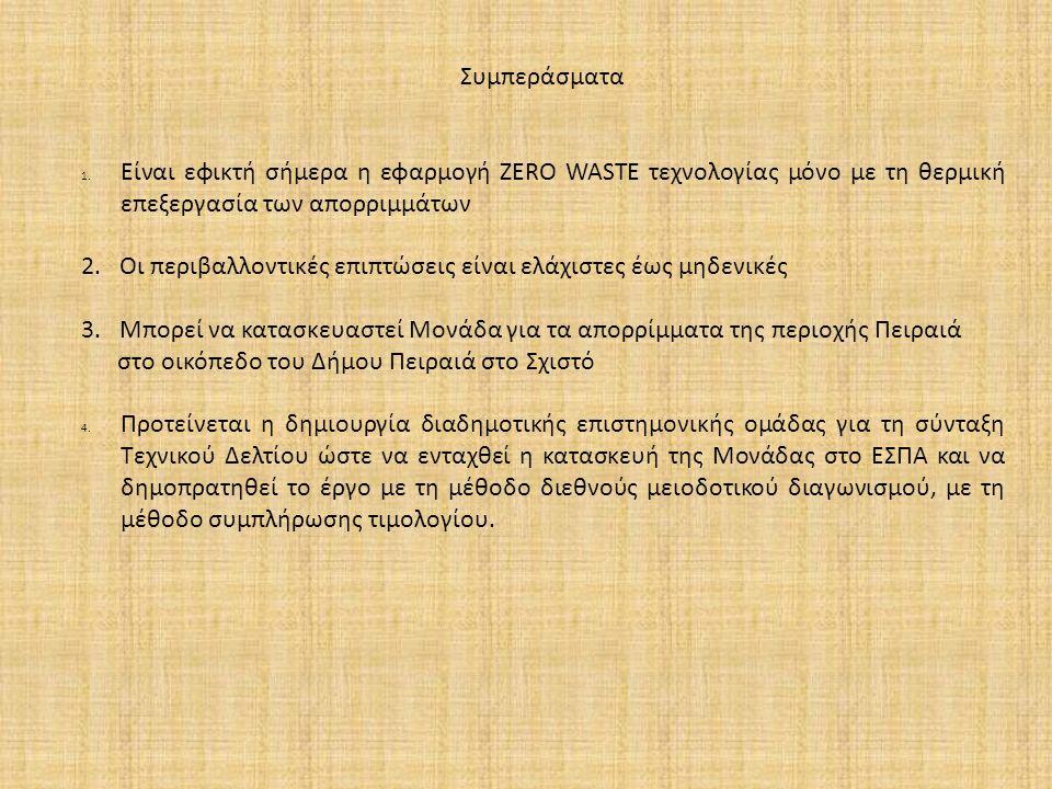 Συμπεράσματα 1. Είναι εφικτή σήμερα η εφαρμογή ZERO WASTE τεχνολογίας μόνο με τη θερμική επεξεργασία των απορριμμάτων 2. Οι περιβαλλοντικές επιπτώσεις